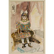 "Original Watercolor ""Victorian Child"" by Helene Barber"