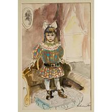 """Original Watercolor """"Victorian Child"""" by Helene Barber"""