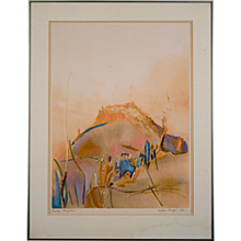 Modernist Abstract Expressionist Work on Paper by Helen Breger (1918-2013)