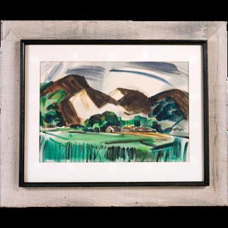 Richard Yip Watercolor, Mid Century