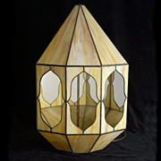 Magnificent Vintage Signed  G. W. Smith Stained Glass Corner Sconce Light