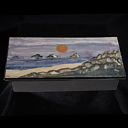 Vintage 1977 Mendocino Seascape Glazed Ceramic Box