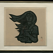 "Jiro Takidaira Woodblock Print ""Mother and Child""  c.1965"