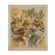 "Lithograph by Ira Moskowitz  (American, 1912-2001) ""Hassidic Dance"""