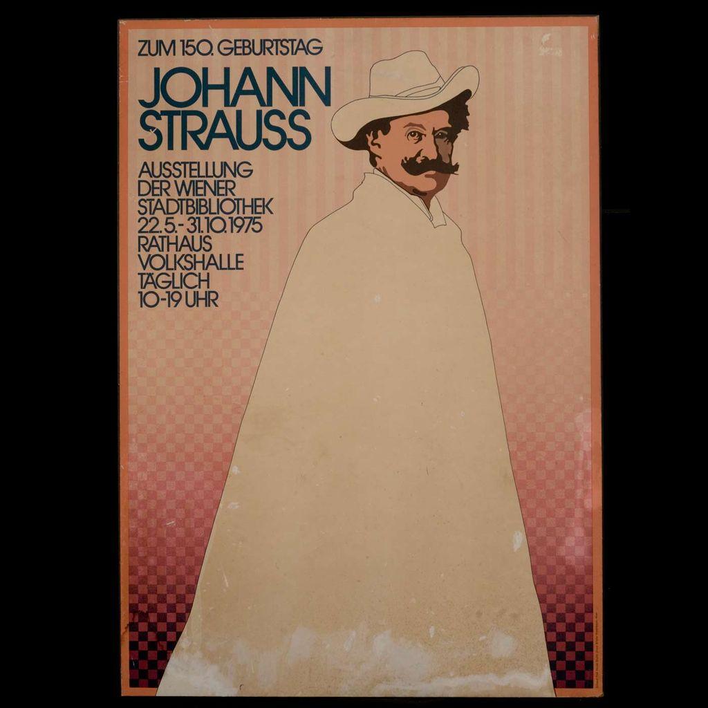 Rare Johann Strauss Poster  (Austia, circa 1975)