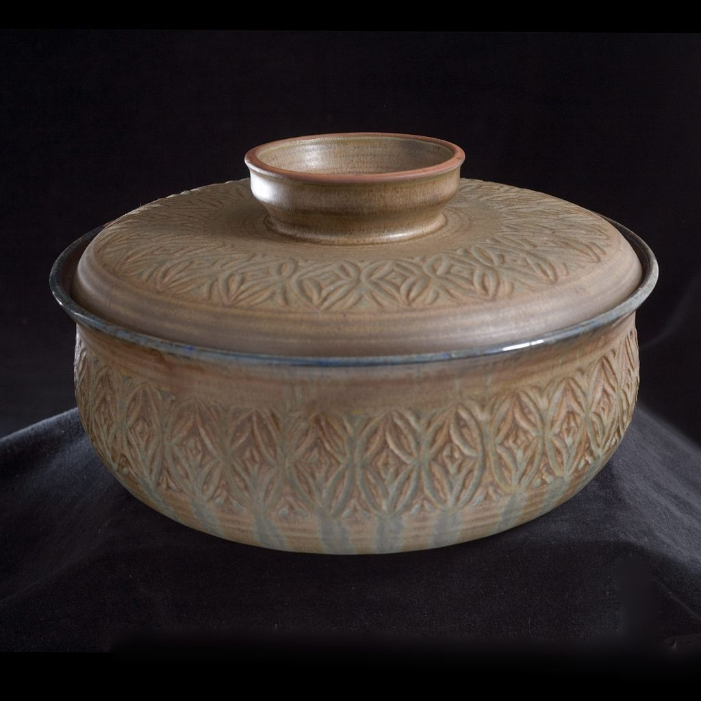 "Sylia Clark and Wanda Styron ""68"" Mid Century Ceramic Lidded Bowl"