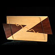 David Haxton c.1988 Fine Wood Inlaid Tray
