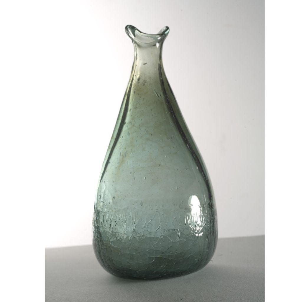 1970's Experimantal American Studio Glass Silver-Green Bottle Vase
