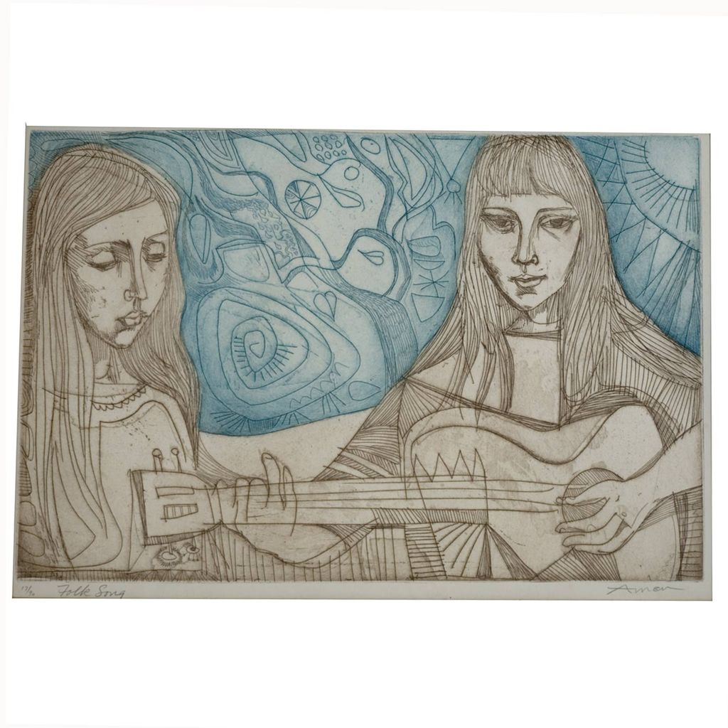 "Irving Amen ""Folk Song"" Original Etching (c.1970)"