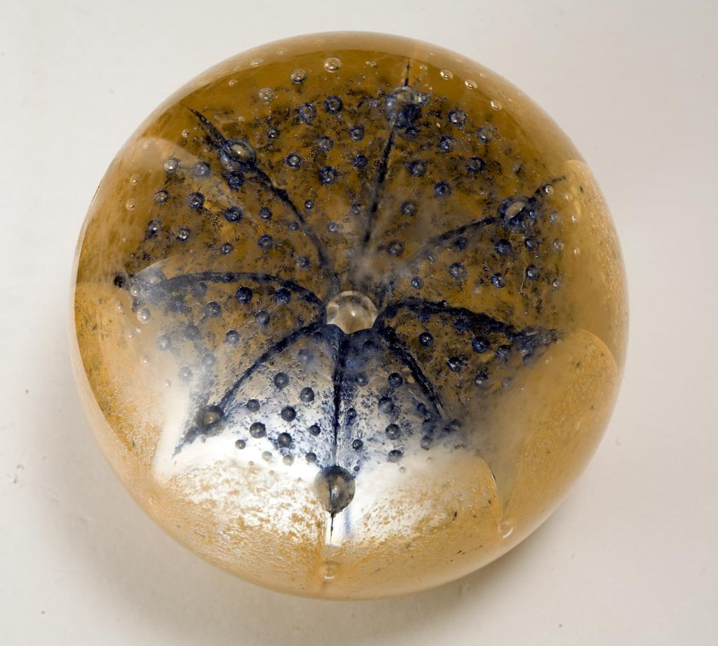 Vintage Gold Flecked Murano Italian Glass Paperweight