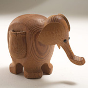 Mid Century Modern Teak Elephant Toothpick/Match Holder