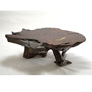 Massive Vintage 1970's Old-growth Redwood Burl Table