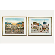 "Pair of ""Paris Street Scene""  vintage 1960's-70's lithographs by Eugene Valentin"