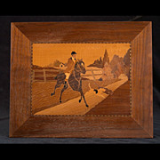 "Vintage Arts and Crafts Marquetry Plaque ""Hunting Scene"""