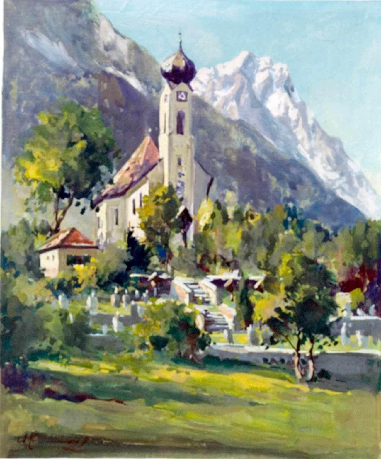 20th Century European Tyrollean Church Tempera Painting