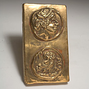 Fabulous Vintage Gold Glazed Terra Cotta Tle