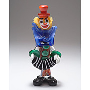 Fabulous 1960's Murano Glass Accordion Playing Clown