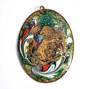 Vintage Lion Motif Enamel Pendant