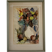 Mid Century Watercolor By Gladys Louise Bowman Fies (1909-2005)