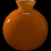 Mid Century Scandinavian Cased Glass Ball Vase