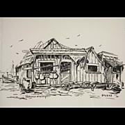 "Mid Century Woodblock Print ""China Camp"" by John J. Sackas  (1910 - 2004)"