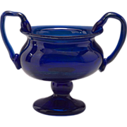 Circa 1972 Cobalt and Silver Oxide Glass Urn Vase by J. Greskow