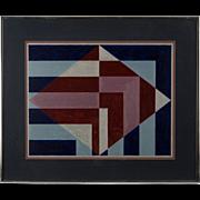 Geometric Op Art Painting , circa 1970's
