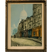 """Original Mezzotint Engraving  """"Rue des la Saules"""", Montmartre ,by Eugene Paul (b.1830)"""