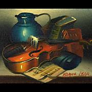 Original Frank Lean Oil Painting, Still Life With Violin, circa 1960's