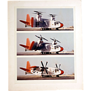 "Vintage Original Chromogenic ""C"" Photograph Hiller X-18 Experimental Plane, Three Views"