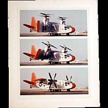 "Vintage Original Chromogenic ""C"" Photograph Hiller X-18 Experimental Plane, Three Views"