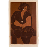 "1960's Bay Area Figurative Silkscreen Print ""Seated Lady"", signed Johnson"