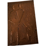 Art Deco Syrian Modernist Copper Repousse Plaque