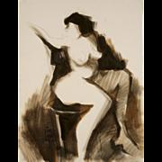 Original Jack Laycox Modernist Pastel and Pencil Nude Study, circa 1970's