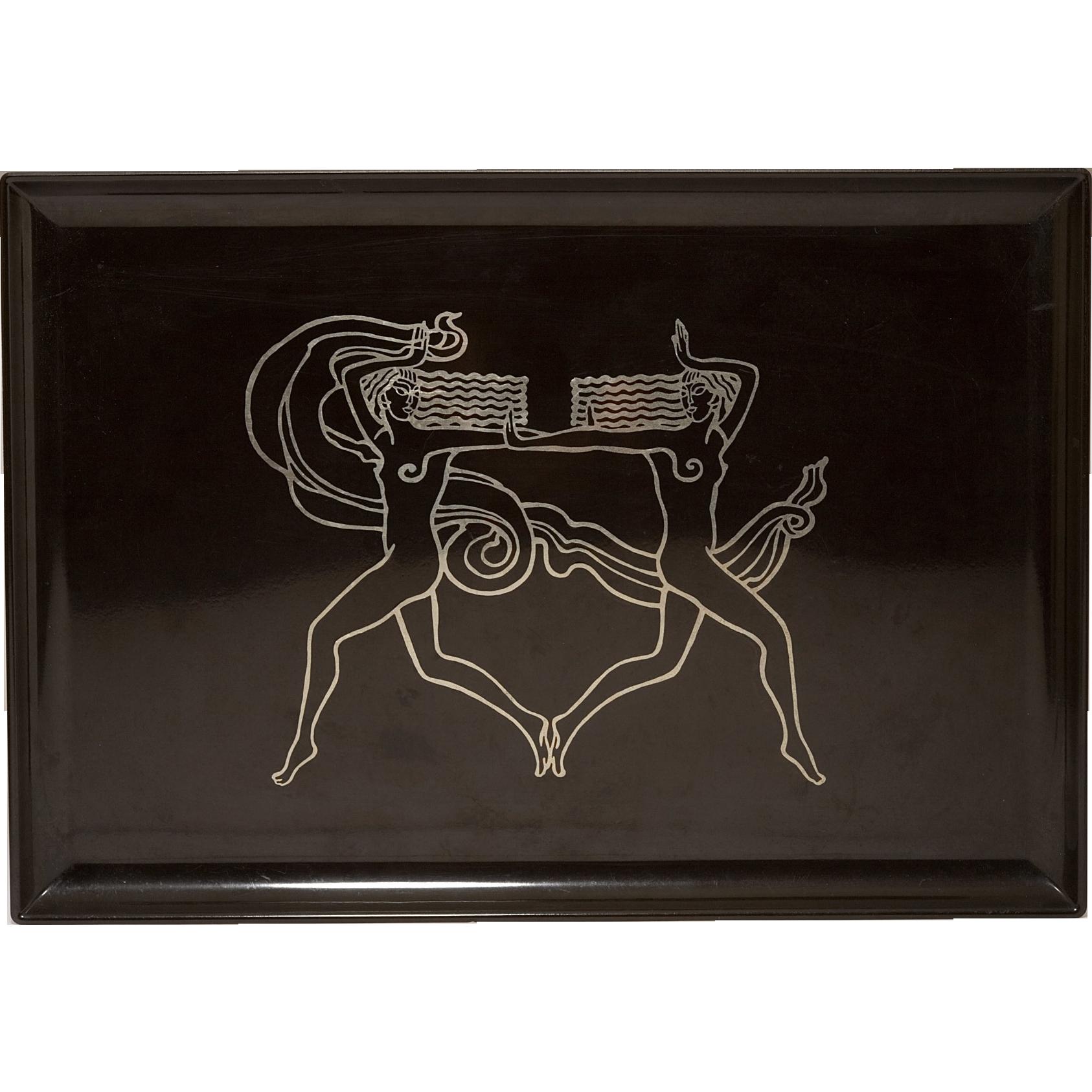 Vintage 1960-1970's Couroc of Monterey Art Deco Manner Platter