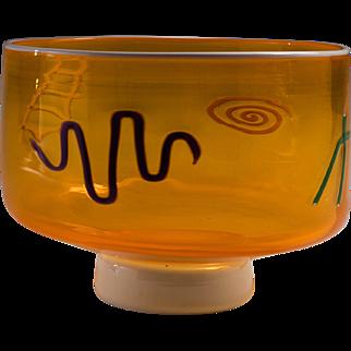 Kerry Feldman Fineline Studios Post Modern Art Glass Bowl