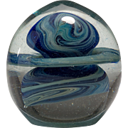 Vintage 1975 David Mauk Art Glass Silver Oxide Paperweight