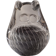 Mid-Century Owl Paperweight Ronneby Marcolin Konstglas Glass, Sweden