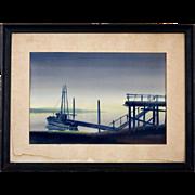 "Mid-Century Watercolor by Charles Mulvey  (1918 - 2001) ""Bayshore at Dawn"""