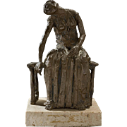 Signed Bronze Seated Figure, circa 1945-1965