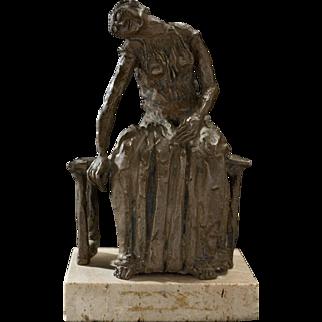 Signed Bronze Seated Figure, circa 1945-1965