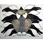 Kenojuak Ashevak (1927-1913) Vintage Lithographic Calendar Print (circa 1970's)
