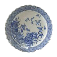 """Fabulous! Antique, 19 c., Japanese Arita  Blue and White Porcelain Charger LARGE-15"""" -free shipping"""