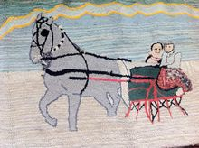 Winter Holiday LARGE Vintage American Horse & Sleigh ca. 1920s Hand Hooked  Rug.2 1/2' x 4 1/2'  Free Shipping
