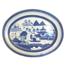 """Fabulous Chinese Export CANTON  LARGE  Deep PLATTER Blue and White , 18 1/2"""" x 15"""", 19th c., Free shipping"""