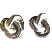 Large Elegant  KNOT Earrings, Marked Sterling .925, French Pierce Clip Earrings