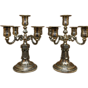 """Beautiful Workmanship 13"""" Tall Ornate Pair of Antique Sheffield Silver on Cooper  Candelabras free shipping Much prettier than pictures show!"""