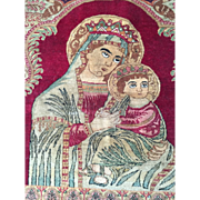 Beautiful Antique  Detail-MADONNA & CHILD Persian Rug/Tapestry Fine Quality Religious Art