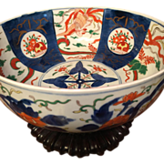 "LARGE Punch Bowl Size Japanese IMARI BOWL, c. 1800s, finely hand painted 11 1/2"" X 5"" x 5"" Hard to find size-has birds, flowers-"