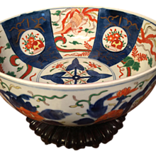 """LARGE Punch Bowl Size Japanese IMARI BOWL, c. 1800s, finely hand painted 11 1/2"""" X 5"""" x 5"""" Hard to find size-has birds, flowers-"""